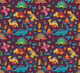 Fototapeta Dinusie - Seamless pattern with cute little cartoon dinosaurs and flowers. Ideal for kids, art prints and surface