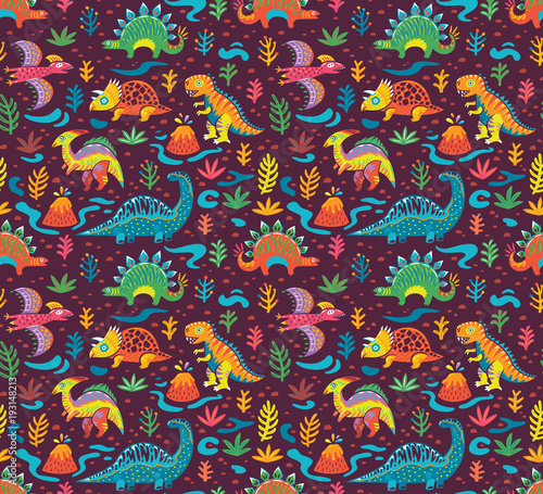 Photo  Seamless pattern with cute little cartoon dinosaurs and flowers