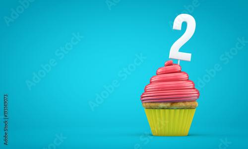 Photo  Number 2 birthday celebration cupcake. 3D Rendering