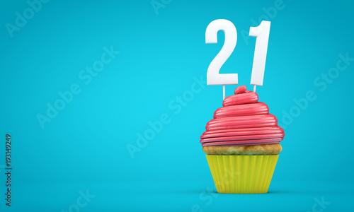 Photo Number 21 birthday celebration cupcake. 3D Rendering