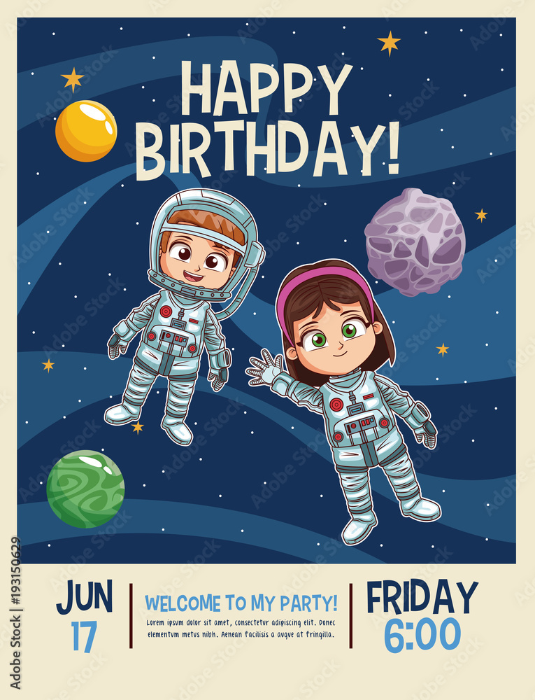 Photo Art Print Happy Birthday Invitation Card Astronauts