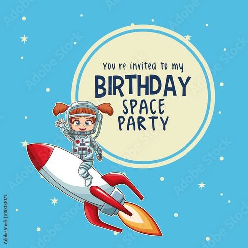 Happy birthday invitation card astronauts kids cartoons vector happy birthday invitation card astronauts kids cartoons vector illustration graphic design childhood space party stopboris Image collections
