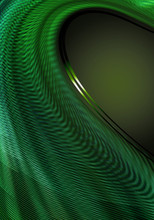 Abstract Dark Green Background Covered The Falling Concave Fluted Waves With Green Hues And Thin Satin Green Stripes