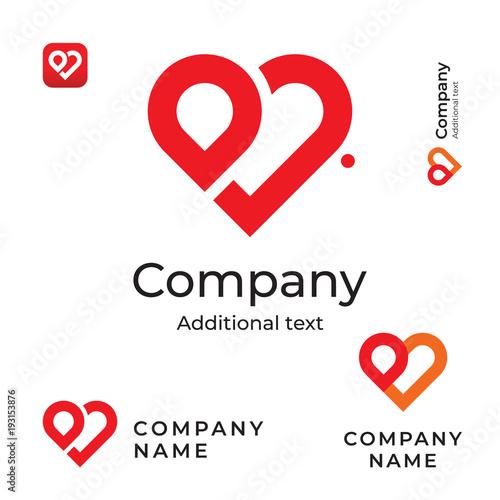 Modern Red Heart Line Logo Love Identity Brand And App Icon Symbol