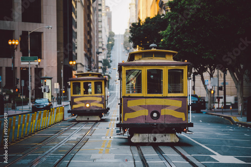 Canvas Prints San Francisco San Francisco Cable Cars on California Street, California, USA