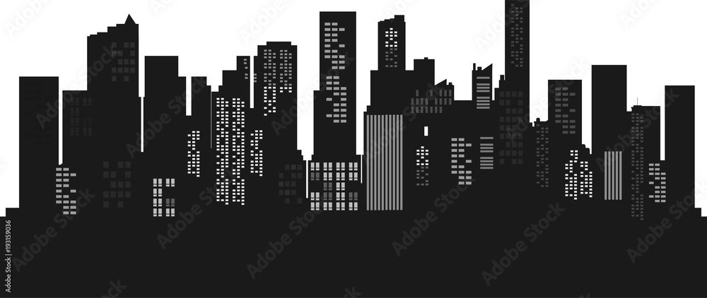 Fototapeta Silhouette Cityscape background. Buildings flate style. Modern architecture. Urban landscape. Horizontal banner with megapolis panorama. Vector illustration. copy space for text.