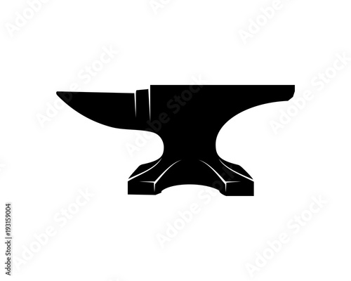 Anvil for Blacksmith Illustration Symbol Vector Logo Silhouette Canvas Print