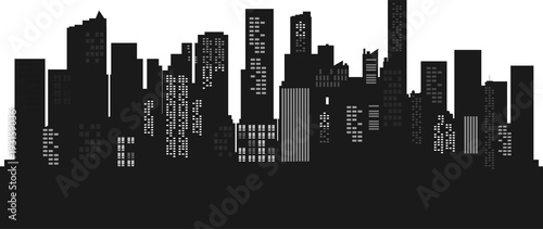 Obraz Silhouette Cityscape background. Buildings flate style. Modern architecture. Urban landscape. Horizontal banner with megapolis panorama. Vector illustration. copy space for text. - fototapety do salonu