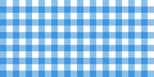 Vector Gingham Striped Checkered Blanket Tablecloth. Seamless White Blue Table Cloth Napkin Pattern Background With Natural Textile Texture. Country Fabric Material For Breakfast Or Dinner Picnic