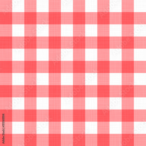819f41e7d47 Vector linen gingham checkered blanket tablecloth. Seamless white red cloth  table pattern background with natural textile texture.