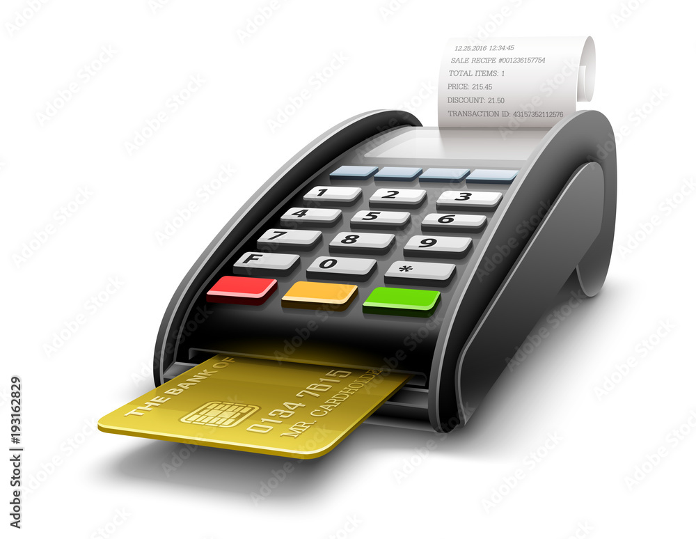 Fototapeta Bank terminal for payment purchases in store with golden credit