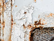 canvas print picture - Peeling paint on wall seamless texture. Pattern of rustic blue grunge material.