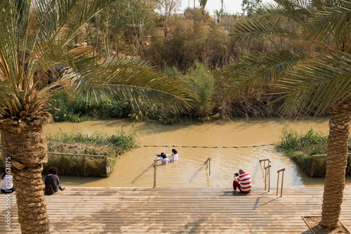 Baptismal site Qasr el Yahud on the Jordan river, the place where Jesus Christ i Fototapet