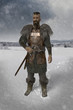 Viking warrior in the snow landscape