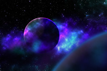Astronomical scientific background - two aliens planets in deep space, glowing mysterious galaxy, comet in space. Colors of deep space, beautiful galaxies, planets, and stars.