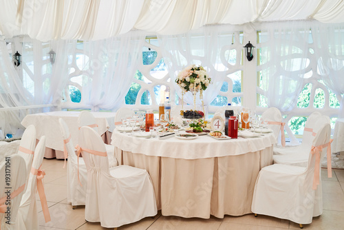 Wedding Table Setting And Chairs For Guests Restaurant Table Set