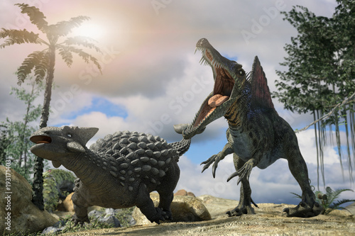 Photo  3D Illustration of a battle between two prehistoric dinosaur