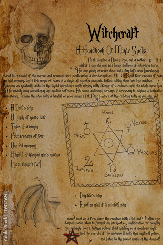 Eerie recipe from witch's grimoire Canvas Print