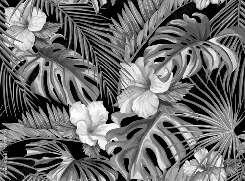 wektor-tropikalny-lisci-hibiskusa-wzor