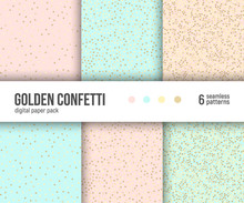 Gold Confetti On Pale Pastel P...