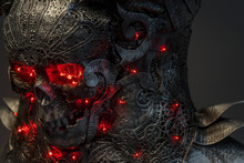 Silver Skull With Red Leds Lights In Eye Sockets, Handmade Design Cosplay Or Fantasy Style