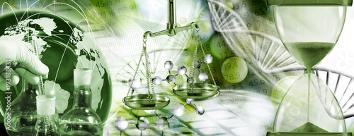 image of chemical flasks, stylized ball, hourglass on biotechnological background