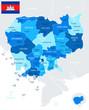 Cambodia Map - Info Graphic Vector Illustration