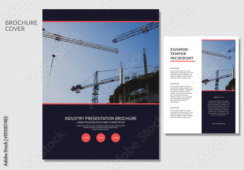 Brochure Layout With Construction Imagery Buy This Stock Template - Construction brochure templates