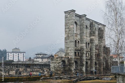 Ruins of old Roman theatre built in the late reign of Augustus in Aosta, Italy, Canvas Print