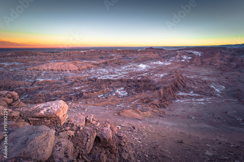 Foto op Canvas Lavendel Atacama Desert, Chile - Landscape of the Andes at sunset in the Atacama Desert, Chile