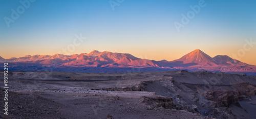 Foto op Aluminium Aubergine Atacama Desert, Chile - Landscape of the Andes at sunset in the Atacama Desert, Chile
