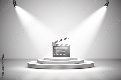 Foto op Canvas Licht, schaduw Vector Spotlights. Scene. Light effects. podium. Exit to the stage for applause, a bright light of searchlights.
