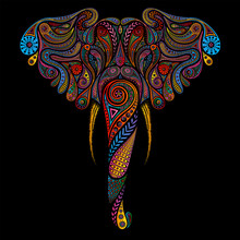 Vector Colored Elephant Made O...