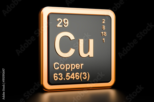 Photo Copper Cu chemical element. 3D rendering