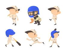 Baseball Player Icon Set, Cart...