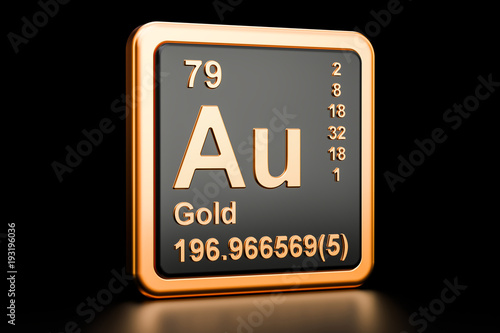 Gold aurum Au chemical element. 3D rendering Canvas Print