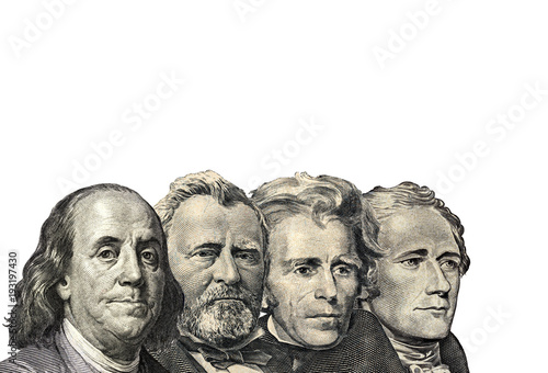 фотография  The Presidents on dollar of US American isolated on white background