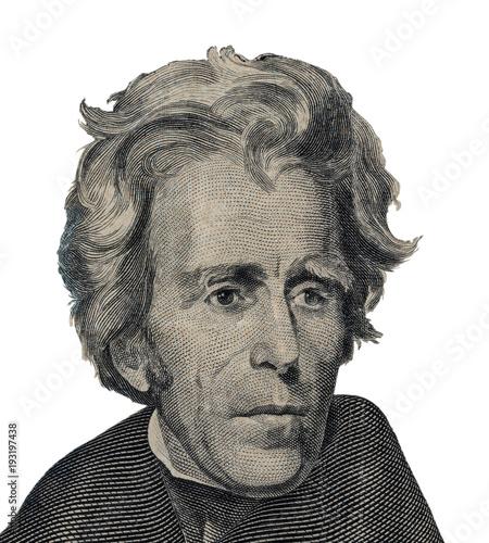 Obraz na plátně US President Andrew Jackson face on twenty dollar bill macro isolated, united st