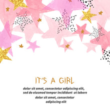 Baby Shower Girl Card Design W...