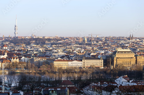 Papiers peints Paris View on the winter Prague City with its Towers, Czech Republic
