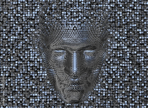 Face made of shiny metal cubes. Looking Down.3d render Canvas Print