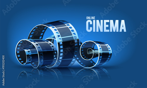 Movie Cinema Film Reel On The Blue Background Vector Kaufen Sie