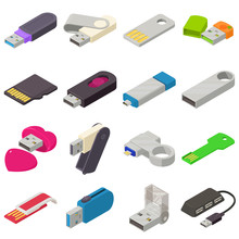 USB Flash Drive Icons Set, Iso...