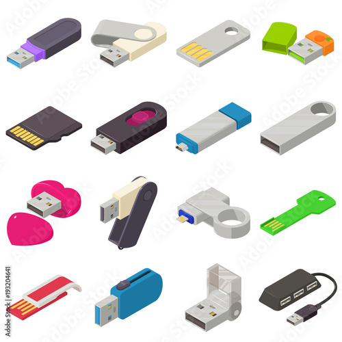 Obraz USB flash drive icons set, isometric style - fototapety do salonu