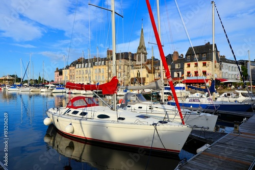 Fotografie, Obraz  Picturesque Honfleur harbor with close up of boats, Normandy, France