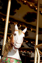 White Painted Carousel Horse