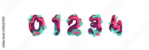 Obraz na płótnie Paper cut number zero, one, two, three, four, figure 0, 1, 2, 3, 4