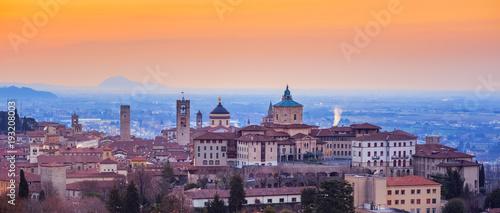 Fotografie, Obraz  Bergamo Old Town, Lombardy, Italy, in red sunrise light