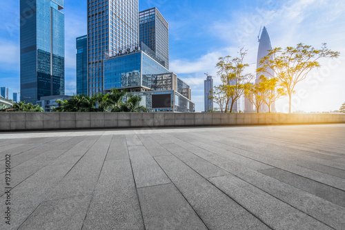 Fototapety, obrazy: Panoramic skyline and buildings with empty square floor.