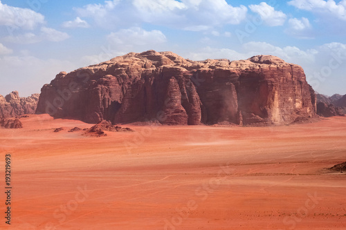Keuken foto achterwand Afrika Red mountains of the canyon of Wadi Rum desert in Jordan. Wadi Rum also known as The Valley of the Moon is a valley cut into the sandstone and granite rock in southern Jordan to the east of Aqaba.